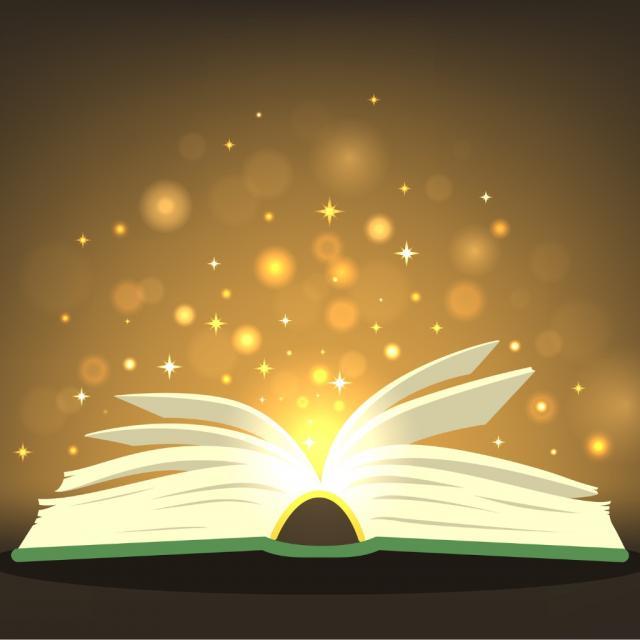 magic-book-with-magic-lights-vector-id1060895936